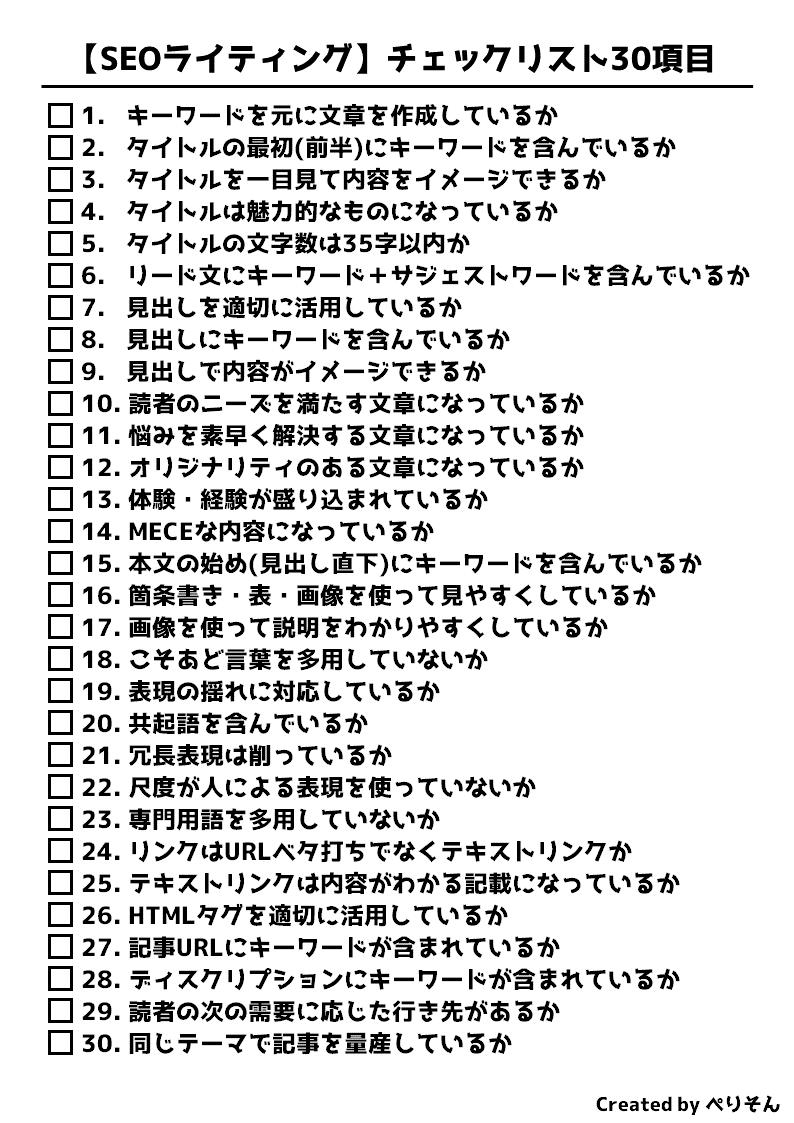 SEOライティングチェックリスト